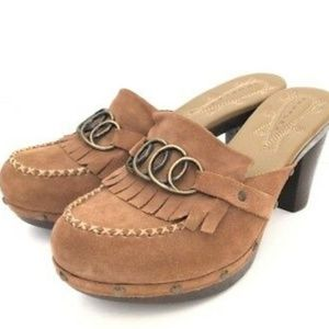 Truflex Womens Mule Clog Brown Suede Shoes Sz 8.5